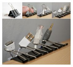 Binder clips make great cord catchers. | 30 Ways To Instantly Transform Your Workspace