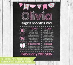 Monthly Milestone  Baby Monthly Chalkboard by ChalkboardPrintables