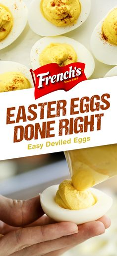 Easy Deviled Eggs - a quick and easy appetizer or side dish for Easter entertaining, these deviled eggs are on the table in just ten minutes. Sprinkle this classic Easter recipe with French's Crispy Fried Onions for added crunch. Easter Recipes, Egg Recipes, Appetizer Recipes, Low Carb Recipes, Holiday Recipes, Cooking Recipes, Recipes Dinner, Cooking Time, Yummy Recipes