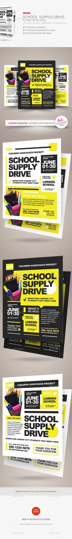 School Supply Drive Flyer Templates — Photoshop PSD #a4 #children • Download ➝ https://graphicriver.net/item/school-supply-drive-flyer-templates/19066088?ref=pxcr