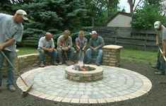Old House landscape contractor Roger Cook builds beautiful circular patio that features a chill-chasing fire pit.This Old House landscape contractor Roger Cook builds beautiful circular patio that features a chill-chasing fire pit. Fire Pit Landscaping, Fire Pit Backyard, Backyard Patio, Landscaping Tips, Paver Fire Pit, Fire Pit With Pavers, Backyard Seating, Outdoor Seating, Fire Pit Off Patio