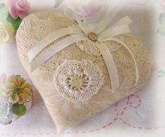 Sachet Heart Lavender Sachet Neutral Tone on by CharlotteStyle, $13.50
