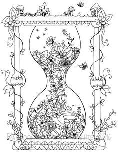 Cool Coloring Books for Adults Luxury Garden Hourglass Coloring Page Printable Coloring Pages Adult Coloring Page Garden Coloring Pages, Free Adult Coloring Pages, Cool Coloring Pages, Coloring Pages To Print, Free Printable Coloring Pages, Coloring Sheets, Coloring Books, Printable Worksheets, Doodle Coloring