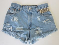 CHEEKY PEEKY 21 STUD Salute-High-Waisted Denim Cutoffs Shorts~$30 and that includes shipping!  Wow!