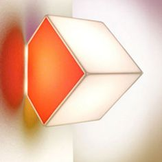 Artemide Edge 30 wall/ceiling light with thermoplastic white or coloured cubic diffuser.
