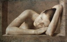 untitled work by Michal Lukasiewicz (b. 1974), Polish-born lives in Antwerp - his paintings of the human form show its softness and tenderness; never the anger of the world but the peace and harmony that humans are capable of. He tries to show the placid side of the subject using light, the reflection of light and the shadows to emphasise the subjects form and curves. He never use colour but the subtleness of tone (tuttartpittura)