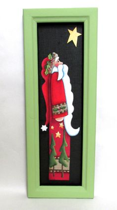 Santa Claus with Yellow NEW Star, Hand or Tole Painted, Fiberglass Black Screen, Hand Crafted Wood Frame, Reclaimed Wood, Santa, Yellow Star by barbsheartstrokes on Etsy