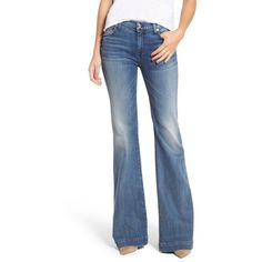 Women's 7 For All Mankind Tailorless Dojo Wide Leg Jeans ($199) ❤ liked on Polyvore featuring jeans, wall street heritage, blue jeans, wide leg jeans, embroidered pocket jeans, faded jeans and 7 for all mankind jeans
