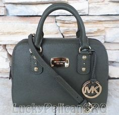 Michael Kors Small Saffiano Dark Olive Green Satchel Bag Handbag NWT #MichaelKors #Satchel