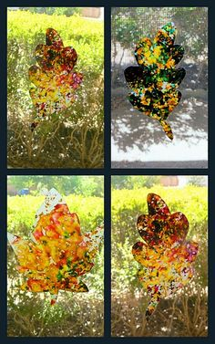 Stained Glass Leaves:  Melt crayon shavings with an iron on low setting between 2 layers of wax paper.  Run the iron over quickly or the colors will start to blend.  Then trace around some fall leaf shapes and cut them out.  Apply a little glue stick to the backs and place on window panes.