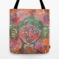 Tote Bags by Tiffany Alcide - Black Girl Mixed media Art