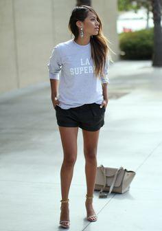Jumper: Sézane by Morgane Sezalory     Shorts: 7FAM    Earrings: Bauble Bar     Heels: Isabel Marant     Bag: Céline