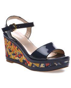 Sesto Meucci Patent Wedge Sandal