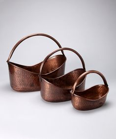 Take a look at this Copper Basket Planter Set by Backyard Oasis Boutique on #zulily today!