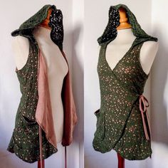 Witch forest green long wrap around vest with hoodie