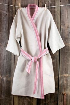 Bath robe  natural grey linen bathrobe unisex   by LinumStudio, $64.00
