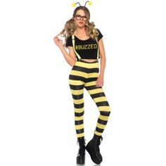 Buzzed Bee Womens Halloween Costume text_price $40.00  Cute fun Buzzed Bee costume for women includes the cropped t-shirt with #Buzzed hashtag striped black and yellow leggings clip on suspenders with attached wings antennae headband and faux eyeglasses.  Other items shown sold separately.  #cosplay #costumes #halloween