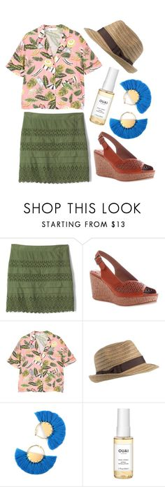 """""""Beachy Bold"""" by beetlescarab ❤ liked on Polyvore featuring Gap, MADELiNE, MANGO, Turtle Fur, Ouai, tropical, beach, hat, eyelet and tropicalprints"""