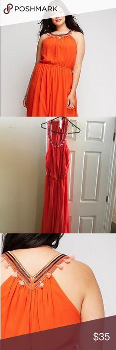 Lane Bryant Maxi Dress Summer weather is still happening! Cleaning out my closet found this gem I've never worn! Why haven't I? I'm too short for it :( i love the burnt orange color and it's light. Still have the tags. My loss your gain Lane Bryant Dresses Maxi