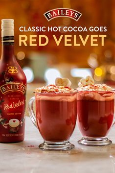 It's not the holiday season without a cozy cup of cocoa! We're giving the classic drink a twist with Baileys Red Velvet.  Dessert Drinks, Fun Drinks, Yummy Drinks, Beverages, Desserts, Mixed Drinks, Alcoholic Drinks, Christmas Drinks, Holiday Drinks