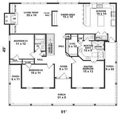 one story house plans 1500 square feet 2 bedroom | ... square feet, 3 bedrooms, 2 batrooms, on 1 levels, Floor Plan Number 1