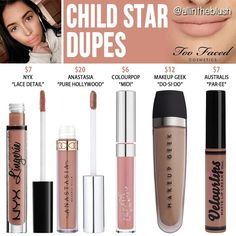 Too Faced Child Star Melted Matte Liquid Lipstick Dupes Happy Tuesday! I have another Too Faced Matte Liquid Lipstick dupe to share with all of you. The next shade up on the dupe list. Skincare Dupes, Drugstore Makeup Dupes, Lipstick Dupes, Beauty Dupes, Lipstick Colors, Nyx Dupes, Lipsticks, Lipstick Swatches, Beauty Products