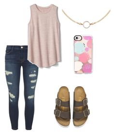 """""""Spring has finally come"""" by maggiekane1 on Polyvore featuring J Brand, Birkenstock, Gap and Casetify"""