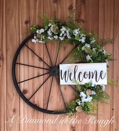Excited to share this item from my shop: Wagon Wheel Farmhouse Welcome Wreath Modern Farmhouse Hand Painted Wood Sign Metal Wreath Spring/Summer Door Decor Wall Decor Wedding Treatment Projects Care Design home decor