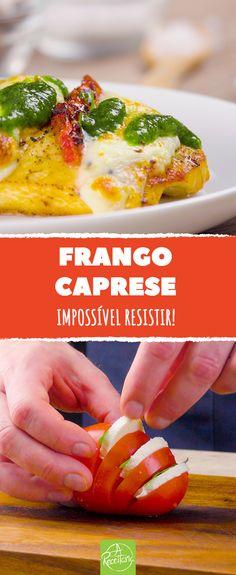 A salada caprese é um aperitivo italiano muito famoso. A combinação de tomate, manjericão e muçarela de búfala é realmente sensacional, e nós vamos levá-la a um novo nível com esta receita. #receita #comida #italia #caprese #saladacaprese #frango #pesto #comida #tutorial