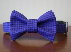 Bow Tie Dog Collar  Cadet Blue Houndstooth by pecanpiepuppies, $34.00