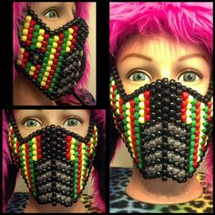 RASTA Mortal Kombat Kandi Mask by CrazedCreationz on Etsy, $25.00