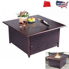Gas Fire Pit Table Top Propane Patio Fireplace Bowl Steel Burner Outdoor Heater