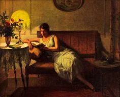 woman reading by French painter Marcel Rieder (1862-1942)