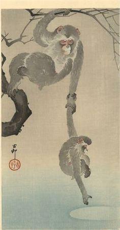 Monkey with her child - Ohara Koson