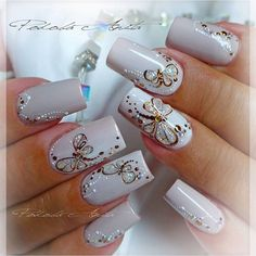 New Fails Design Matte Beige 41 Ideas Glam Nails, Hot Nails, Fancy Nails, Beauty Nails, Pretty Nails, Hair And Nails, Ongles Beiges, 3d Nail Designs, Butterfly Nail
