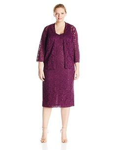 Alex Evenings Womens PlusSize TLength Jacket Dress with Open Jacket and Scallop Detail Aubergine 22W ** You can get additional details at the image link.-It is an affiliate link to Amazon. #fashiondresses