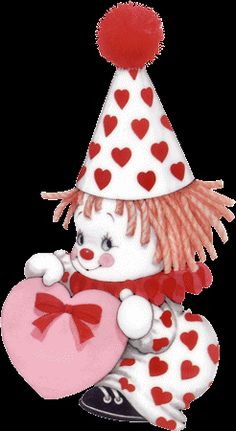 lleno de corazones images mignonnes, cute clown, creepy - valentines day ruth morehead PNG image with transparent background png - Free PNG Images Cute Clown, Creepy Clown, Digi Stamps, Cute Illustration, Be My Valentine, Clipart, Vintage Images, Cute Cartoon, Cute Art