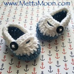 Tiny Feet Crochet Booties Blue and White nautical by MettaMoon
