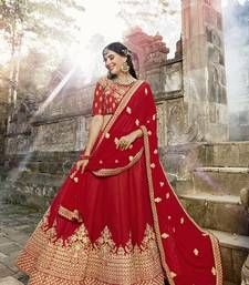 Designer Lehenga Choli Zari Embroidered Traditional Indian Bollywood Party Wear - All About Red Wedding Lehenga, Wedding Lehenga Online, Wedding Lehenga Designs, Indian Bridal Lehenga, Lehenga Choli Online, Indian Bridal Outfits, Silk Lehenga, Indian Dresses, Anarkali