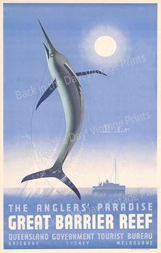 "Australia Fishing, Vintage Reproduction Travel Poster of ""The Anglers' Paradise, Great Barrier Reef   "" c1930 by artrep1 on Etsy"