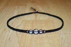Black Hemp Choker Necklace Iridescent Faceted Clear Glass Beads - Square Knot - Women Teen Girl Child Kid Best Friend Girlfriend Gift Custom