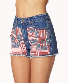American Flag Patch Denim Shorts | FOREVER21  How many flags do you see? #RedWhiteAndBlue #Summer #FourthOfJuly #Cutoffs