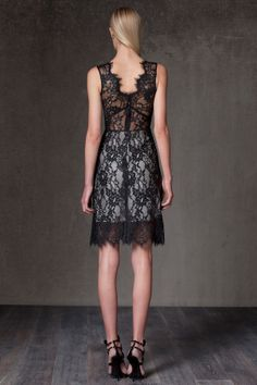 """Kruse Lace Overlay Dress in black lace by ALEXIS $550 - $189 @HauteLook. [back]. - Crew neck - Hidden back zip closure - Sheer detail at waist - Allover sheer lace overlay with scalloped edges - Partial lining - Approx. 42"""" length - Made in USA Dry clean. Shell: 100% nylon. Lining: 100% silk."""