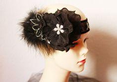 Silver Black Feather Headband - Great Gatsby 20s 1920 Inspired Beaded Headpiece - Art Deco Wedding Bridal Headdress