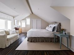 Could do with our bonus room: wood floors/furniture placement against sloping walls/MORE windows!                                                                                                                                                                                 More