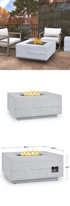 Built from lightweight fiber-cast concrete, heavy gauge steel, and hand-built wooden molds. | Board Form Square Gas Fire Pit Table | WoodlandDirect.com