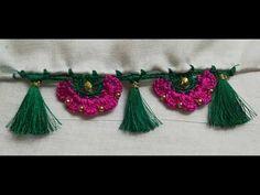Saree Tassels Designs, Saree Kuchu Designs, Blouse Designs, Design Youtube, Designer Socks, Crochet Earrings, Embroidery, Patterns, Fashion