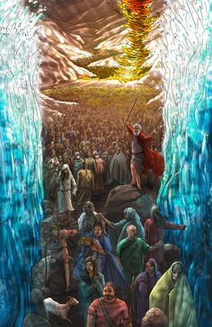 Apele marii stau ca niste ziduri si Israel trece marea Rosie pe uscat.Moses at Red Sea. I would be that first person on the right, not walking, just touching the water! Christian Artwork, Christian Pictures, Bible Pictures, Jesus Pictures, La Sainte Bible, Jesus Painting, Bible Illustrations, Prophetic Art, Jesus Art