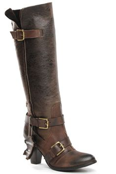 Brown Buckle Detail Boots