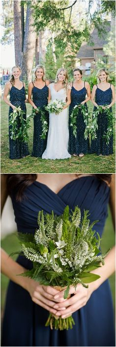 navy blue and greenery wedding color ideas for 2018 #blueweding #weddingcolors #weddingideas / http://www.deerpearlflowers.com/navy-blue-wedding-color-combo-ideas/